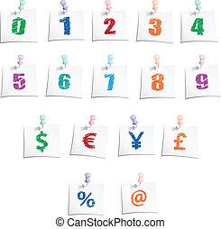 symboler, hæve, antal, hænder