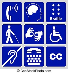 symboler, handikapp, kollektion, undertecknar