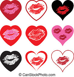 symboler, hjerte, sæt, kys, vektor
