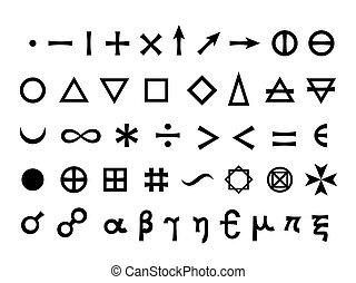 symboler, huvudsaklig, elementara, grundläggande