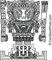 symboler, inka, stam, mayan, vektor