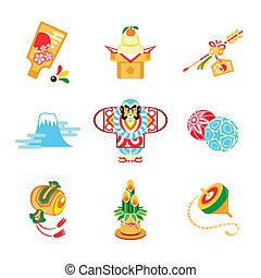 symboler, japan, nytår