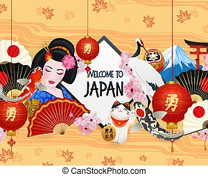 symboler, japan, ramme, realistiske