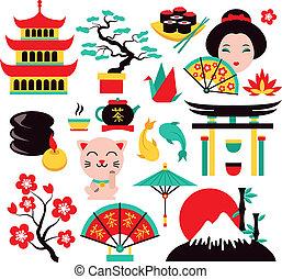 symboler, japan, sæt