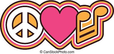 symboler, kärlek, fred, musik