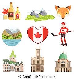 symboler, kultur, sätta, kanadensare