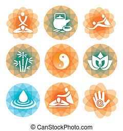 symboler, kurbad, baggrunde, massage