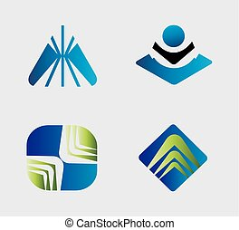 symboler, logo, sæt, element