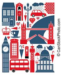 symboler, london, kollektion