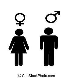 symboler, mandlig, illus, kvindelig
