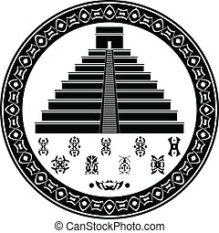 symboler, mayan, pyramid, fantasi