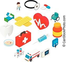 symboler, medicinsk, isometric, kollektion, 3