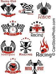 symboler, motorsport, heraldisk, ikonen