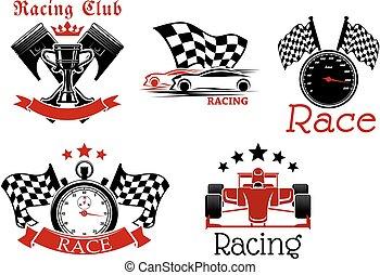 symboler, motorsport, sportig, design, konkurrens