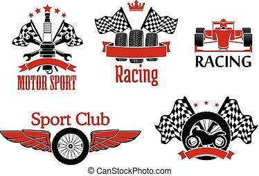 symboler, motorsport, tävlings-, design, bil
