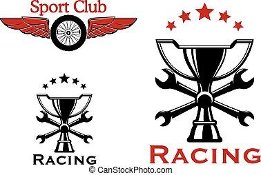 symboler, motorsport, tävlings-, eller, ikonen