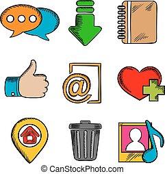 symboler, nät, multimedia, ikonen
