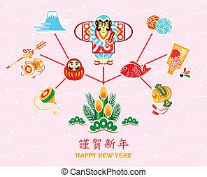 symboler, nye, japansk, år