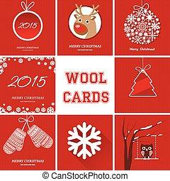 symboler, olik, sätta, jul kort