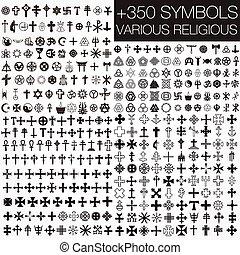 symboler, olika, religiös, 350