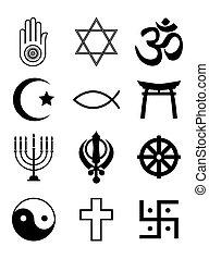 symboler, religiøs, hvid, sort, og