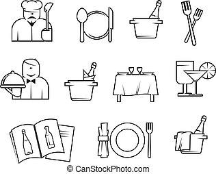 symboler, restaurang