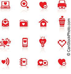 symboler, sätta, dag, röd, valentinkort