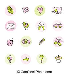symboler, sätta