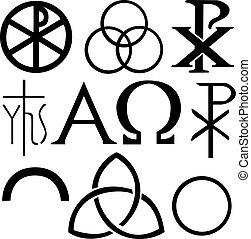 symboler, sätta, kristen