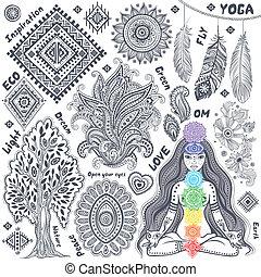 symboler, sæt, indisk, ornamental