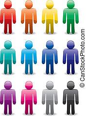 symboler, sæt, vektor, farverig, mand
