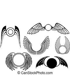 symboler, sæt, vinge