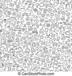 symboler, seamless, mönster, in, svartvitt