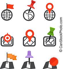 symboler, stad, abstrakt, kollektion, karta