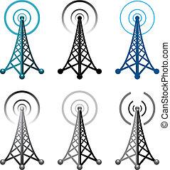 symboler, tårn, radio