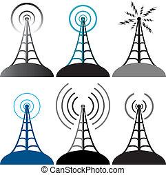 symboler, tårn, vektor, radio