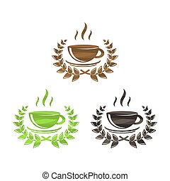 symboler, te kaffe, sätta