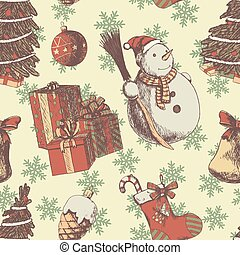 symboler, träd, lysande, papper, gåvor, år, stil, skiss, årgång, pattern., seamless, bakgrund., snowman., färsk, agremanger, jul, brun, grunge, hand, socka, oavgjord, färgad, eller, vektor, attributes, jul