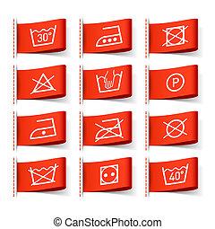 symboler, tvättstuga, etiketter, beklädnad