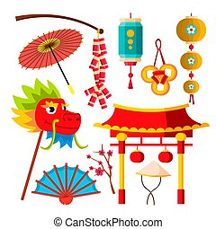 symboler, umbrella., kinesisk, flashlights, japansk, iconerne, buff, lejlighed, isoleret, drage, sakura, illustration, vector., cartoon