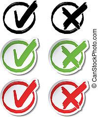 symboler, vektor, cirkelrund, check marker