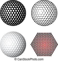 symboler, vektor, golfboll