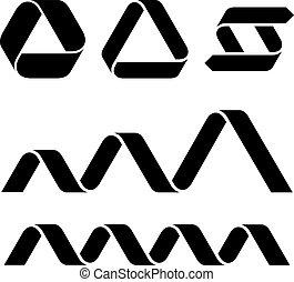 symboler, vektor, sort, bånd