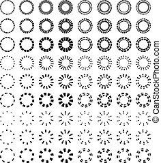 symboler, vektor, sort, starbursts