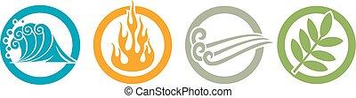 symboles, éléments, -, brûler, air, quatre, eau, la terre