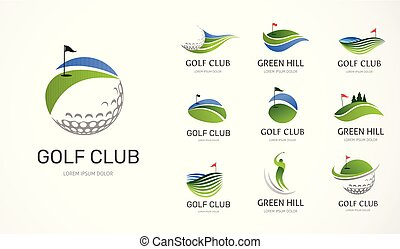 symboles, éléments, club golf, icônes, collection, logo