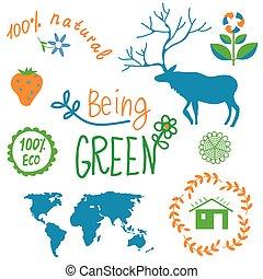 symboles, éléments, ensemble, écologie, nature