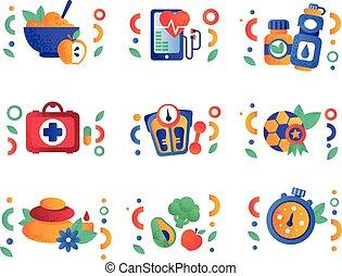 symboles, éléments, style de vie, sain, vegan, sport, ensemble, vecteur, fitness, fond nourriture, activité, conception, blanc, illustrations, physique