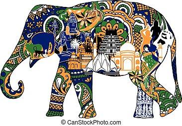 symboles, éléphant indien