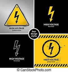 symboles, élevé, ensemble, avertissement, tension
